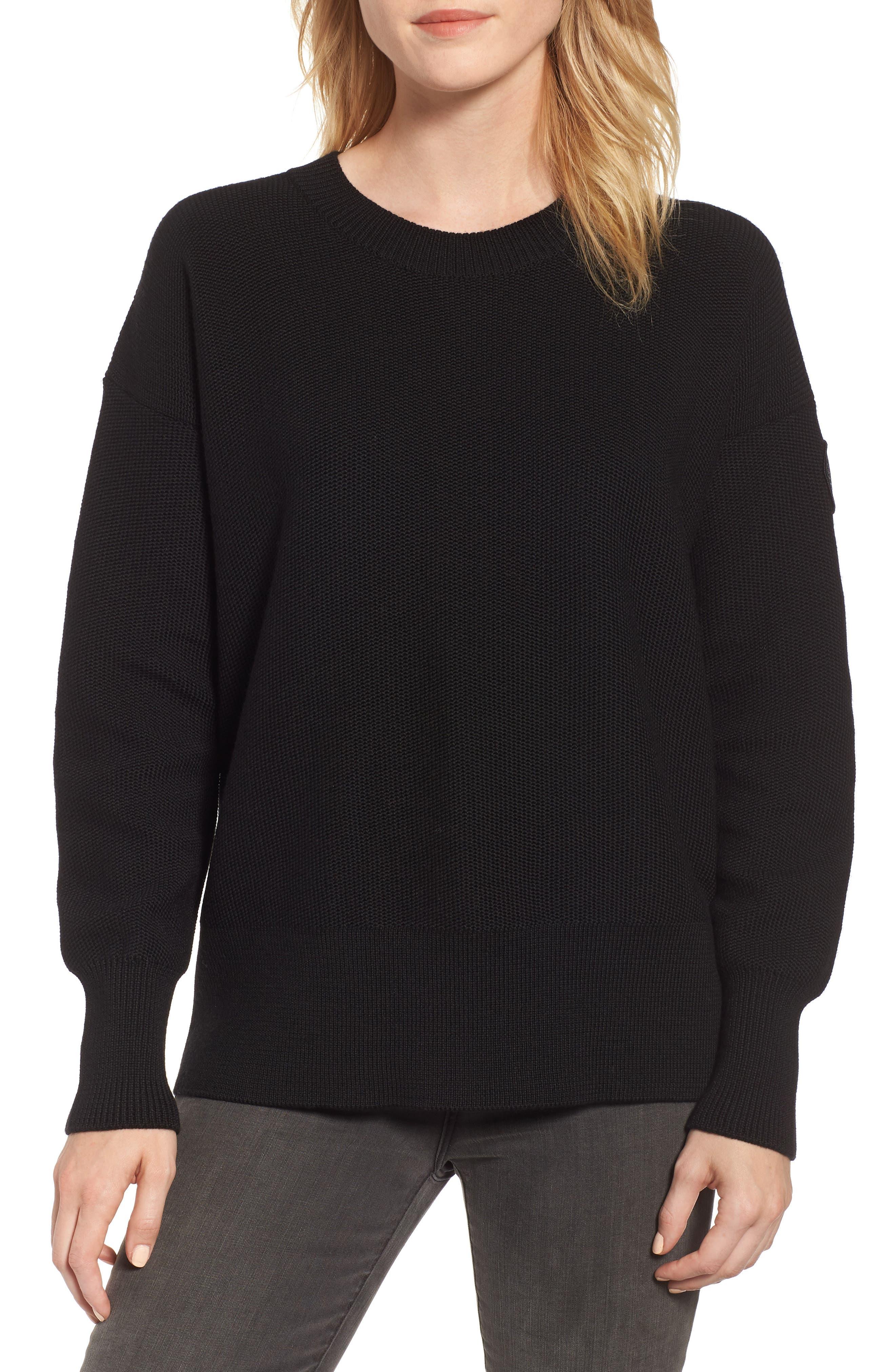 ,                             Aleza Merino Wool Sweater,                             Main thumbnail 1, color,                             BLACK