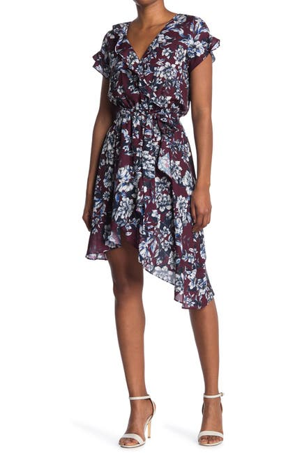 Image of Parker Asymmetrical Wrap Midi Dress