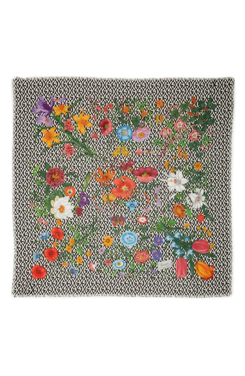 GUCCI Big Flora Privilege Wool Scarf, Main, color, IVORY/ BLACK