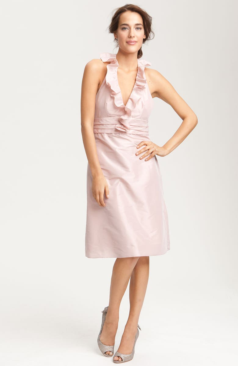 AMSALE Ruffle Taffeta Halter Dress, Main, color, 650