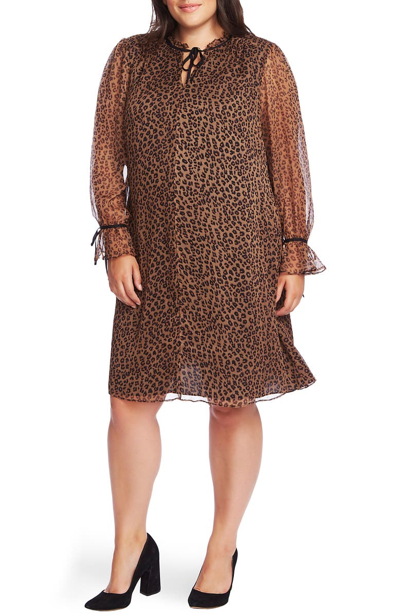 CECE Leopard Ruffle Sleeve Shift Dress, Main, color, 200