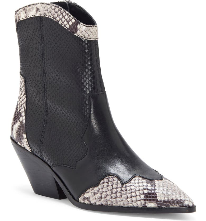 VINCE CAMUTO Jaidin Snake Embossed Western Boot, Main, color, BLACK/ BLACK LEATHER