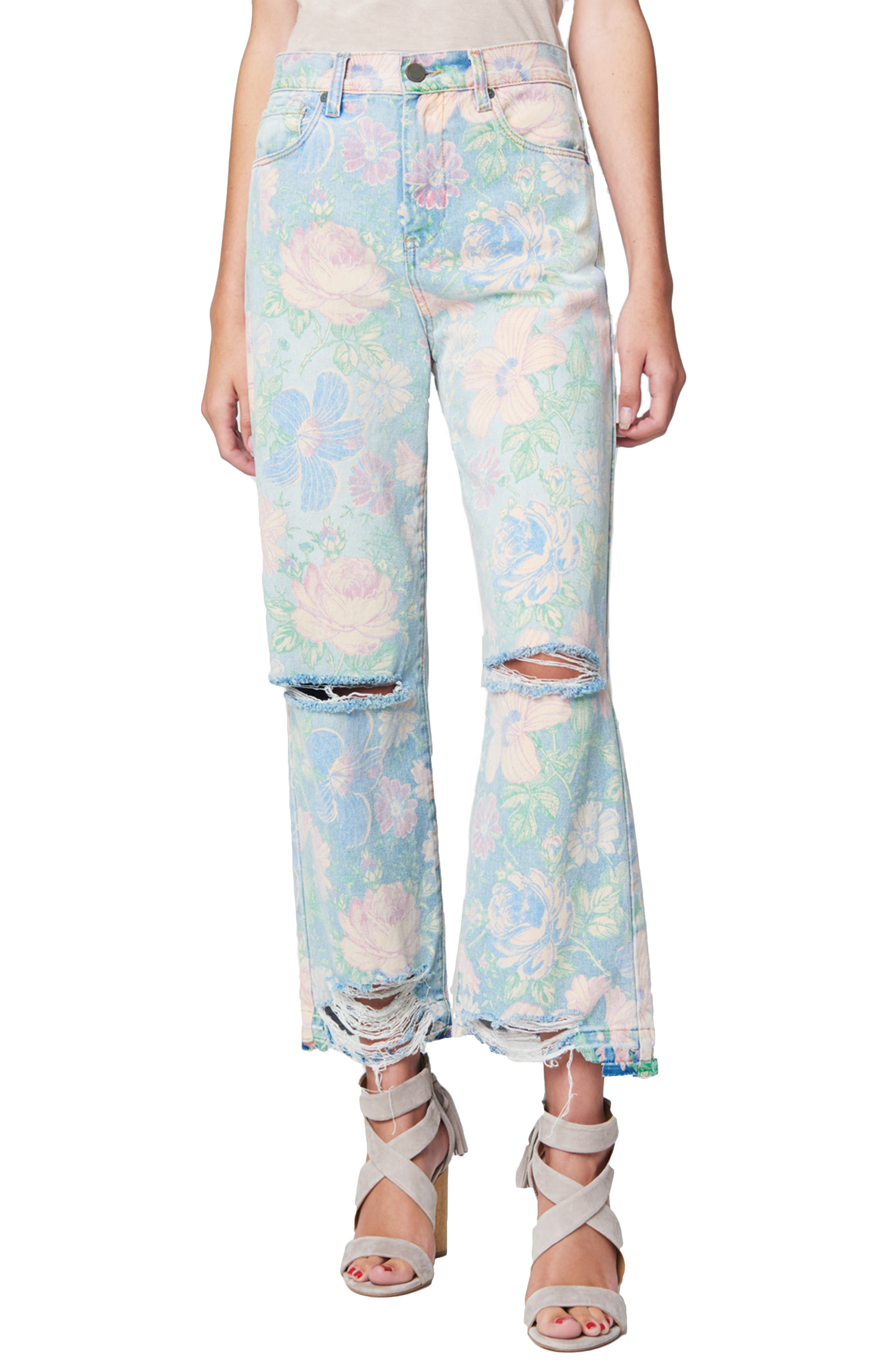 60s – 70s Pants, Jeans, Hippie, Bell Bottoms, Jumpsuits Womens Blanknyc High Waist Destroyed Flare Jeans $128.00 AT vintagedancer.com