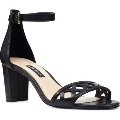 Nine West Paisley Perforated Ankle Strap Sandal, Black
