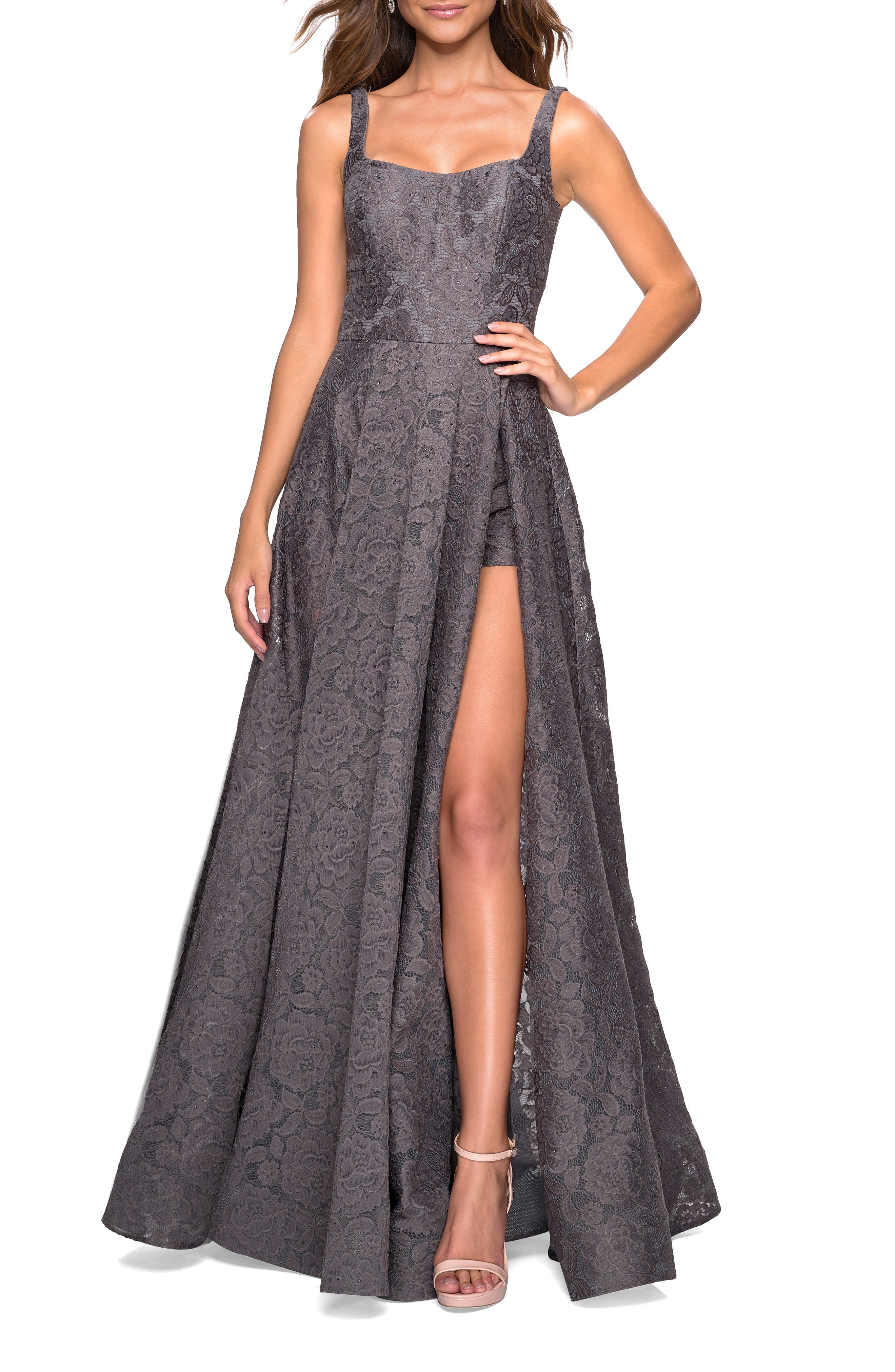 La Femme Front Slit Lace Evening Dress, Grey