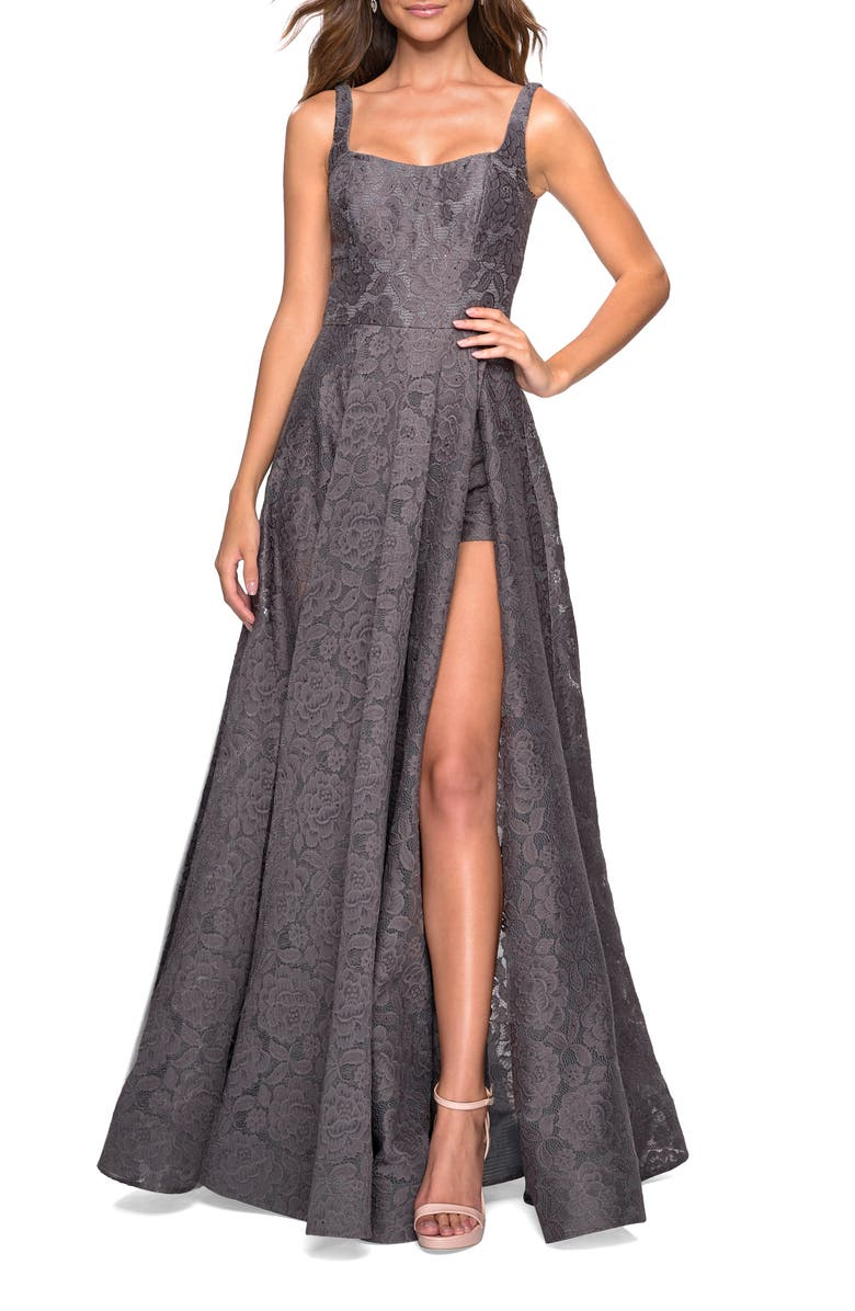 LA FEMME Front Slit Lace Evening Dress, Main, color, 021