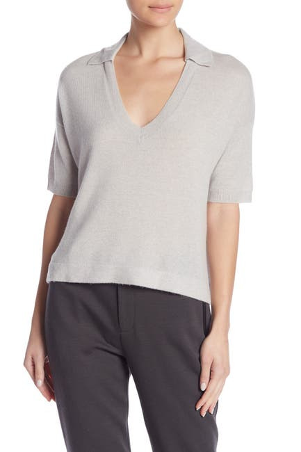 Image of James Perse Boxy Cashmere Polo Shirt