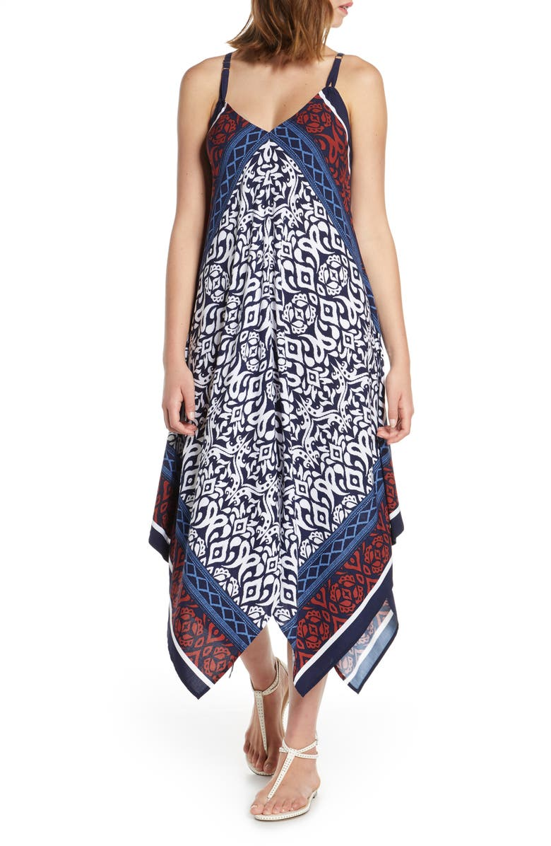 TOMMY BAHAMA Ikat Diamond Cover-Up Scarf Dress, Main, color, MARE NAVY