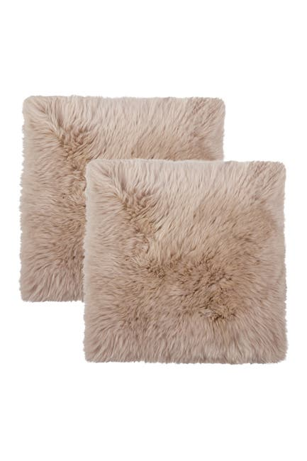 "Image of Natural New Zealand Genuine Sheepskin Shearling Chair Seat Pad - Set of 2 - 17"" x 17"" - Taupe"