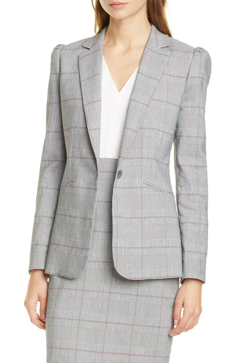 TAILORED BY REBECCA TAYLOR Summer Check Puff Sleeve Linen Blend Suit Jacket, Main, color, GREY COMBO