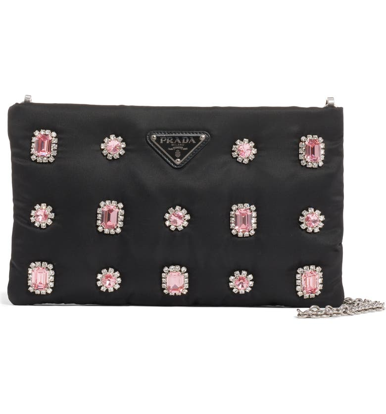 PRADA Jewel Embellished Shoulder Bag, Main, color, NERO/ ROSA