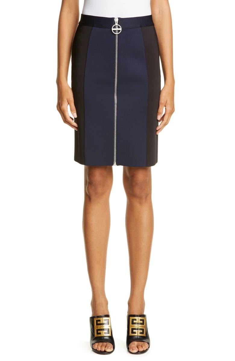 GIVENCHY Zip Front Punto Milano Pencil Skirt, Main, color, BLACK/ NAVY