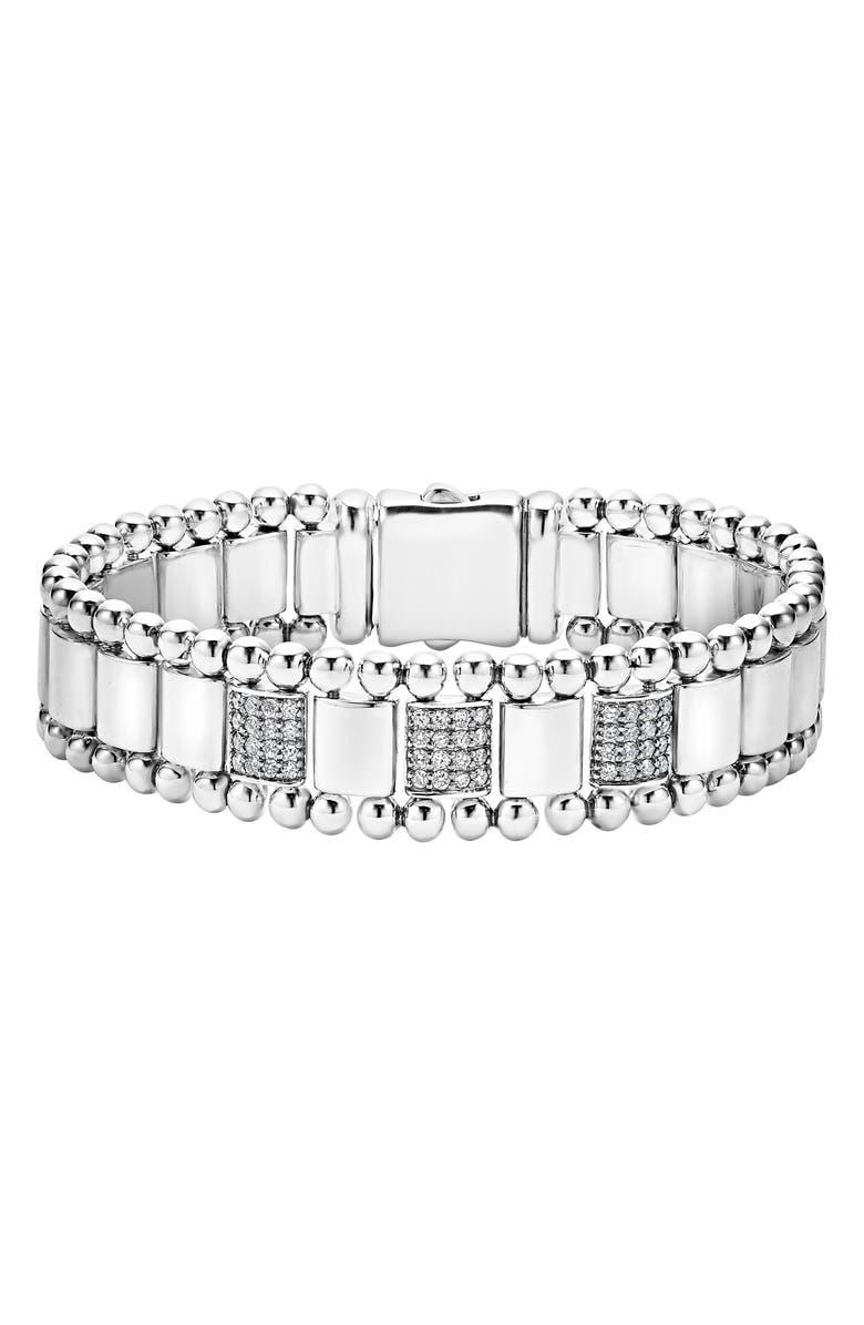 LAGOS Caviar Spark Diamond Bracelet, Main, color, SILVER