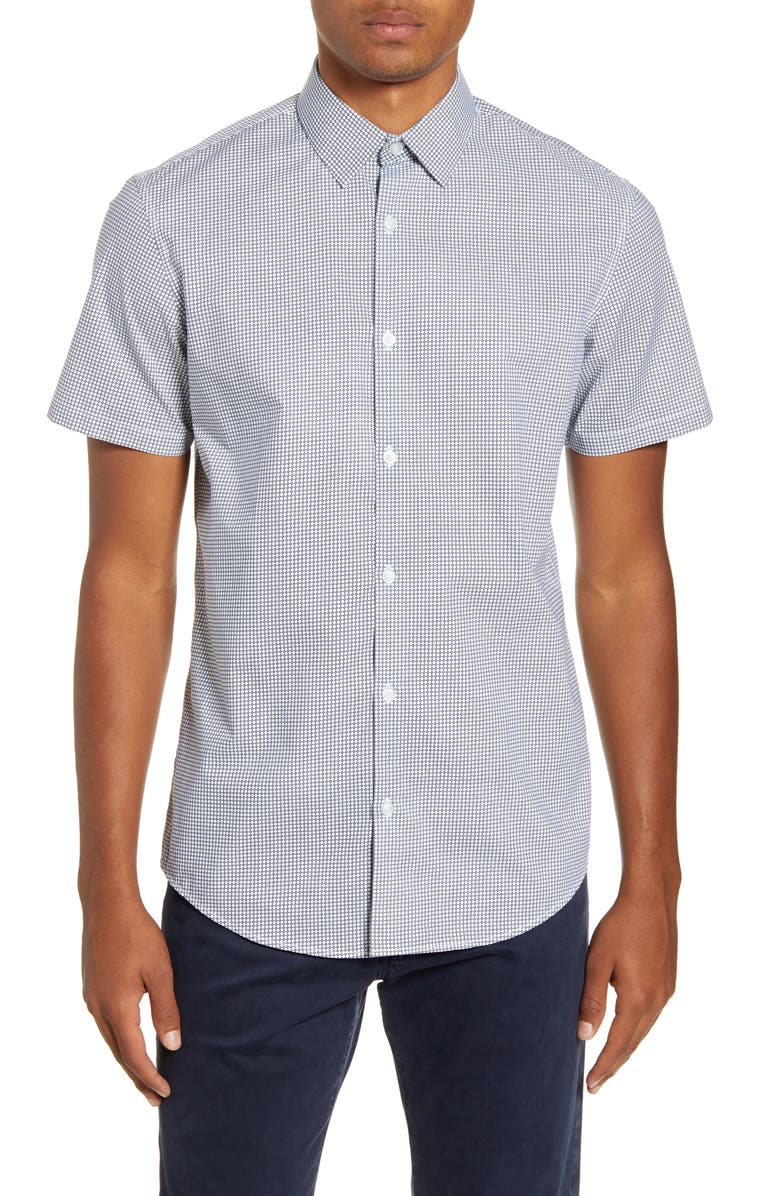 CALIBRATE Trim Fit Geo Print Short Sleeve Button-Up Shirt, Main, color, WHITE BLACK NEAT GEO