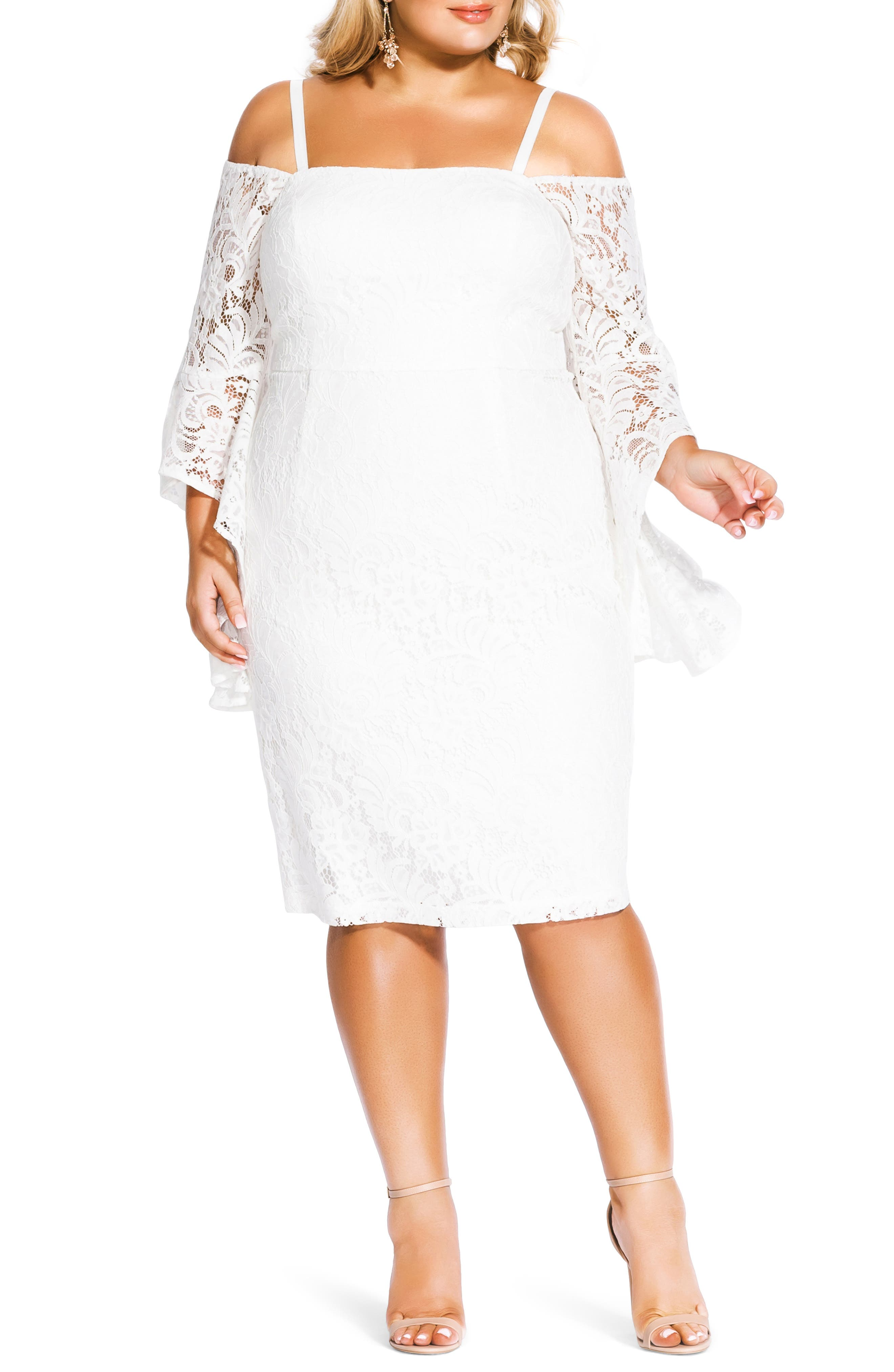 Plus Size City Chic Mystic Lace Dress, Ivory