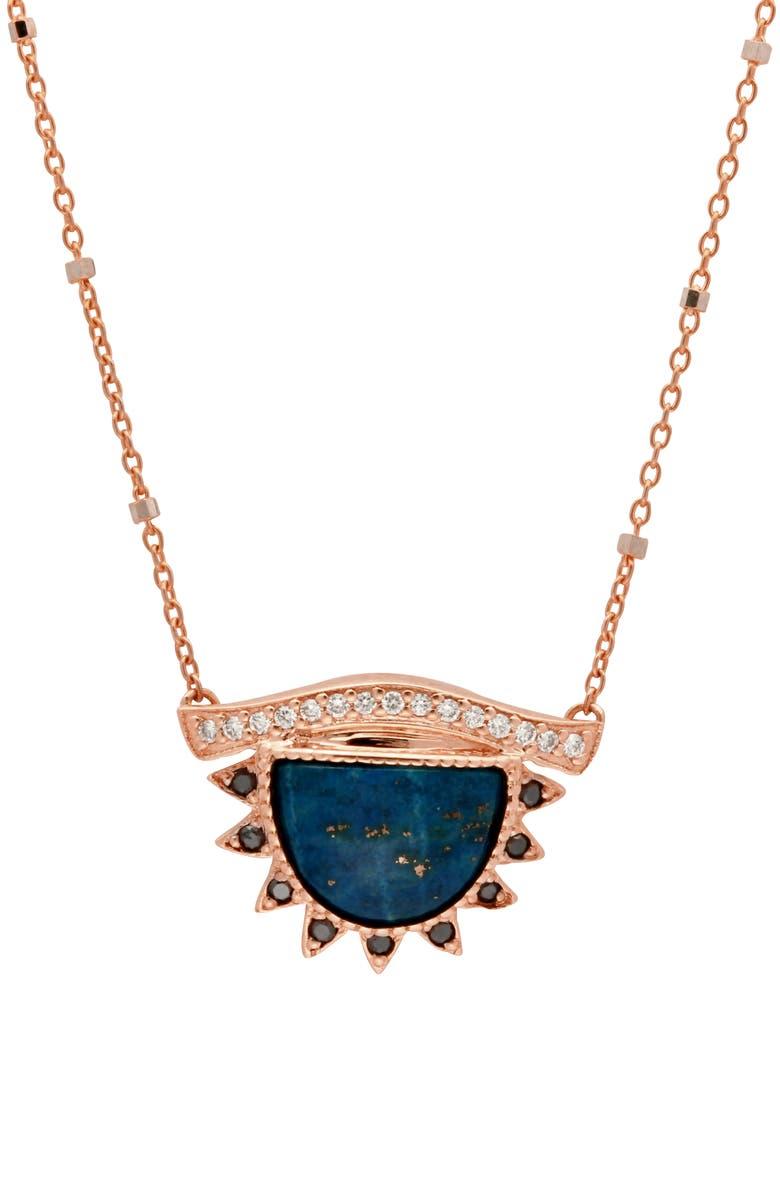 CONGÉS Protect Lapis Lazuli Small Third Eye Necklace, Main, color, ROSE GOLD