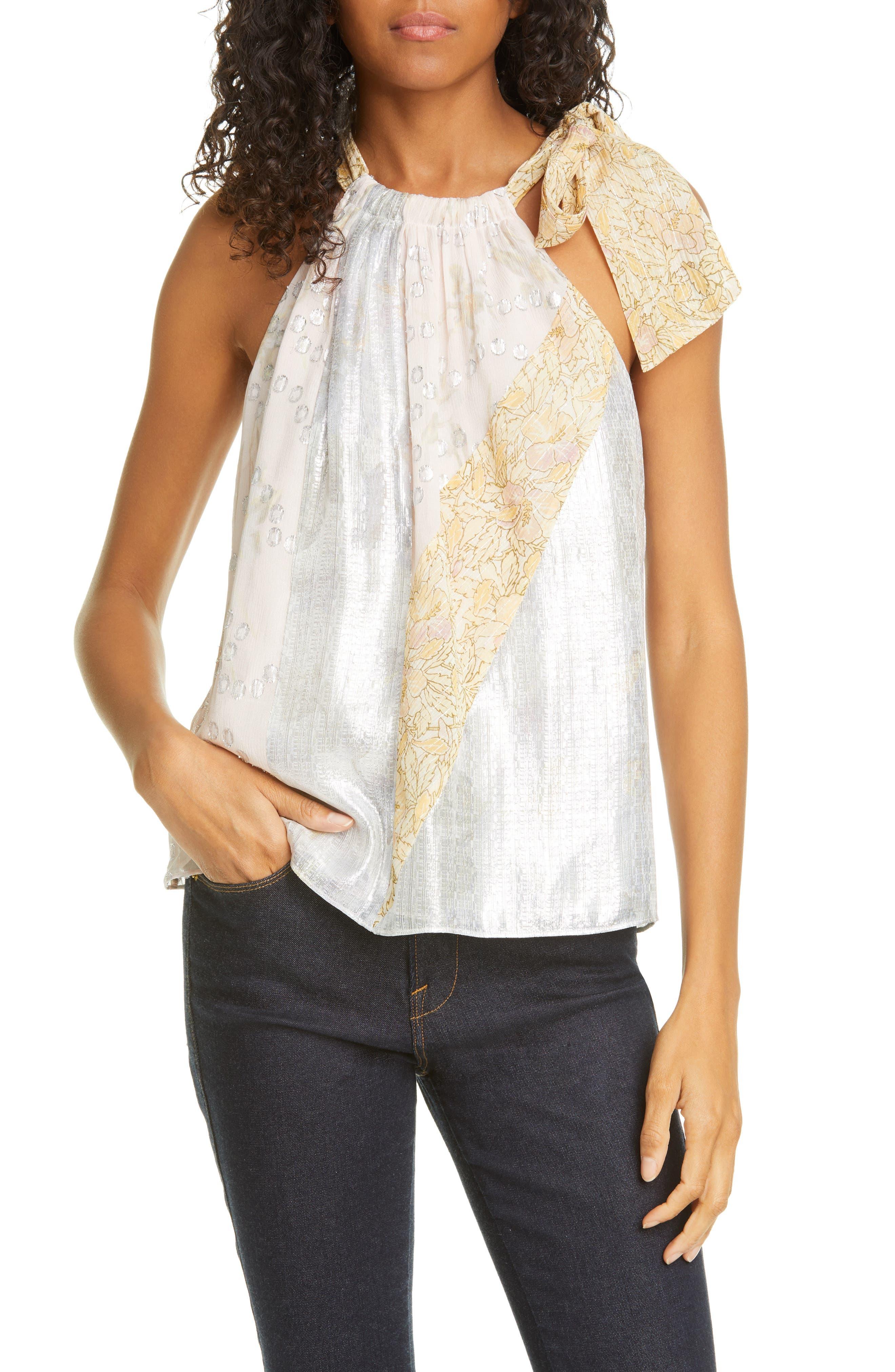 Image of Rebecca Taylor Metallic Silk Blend Halter Top