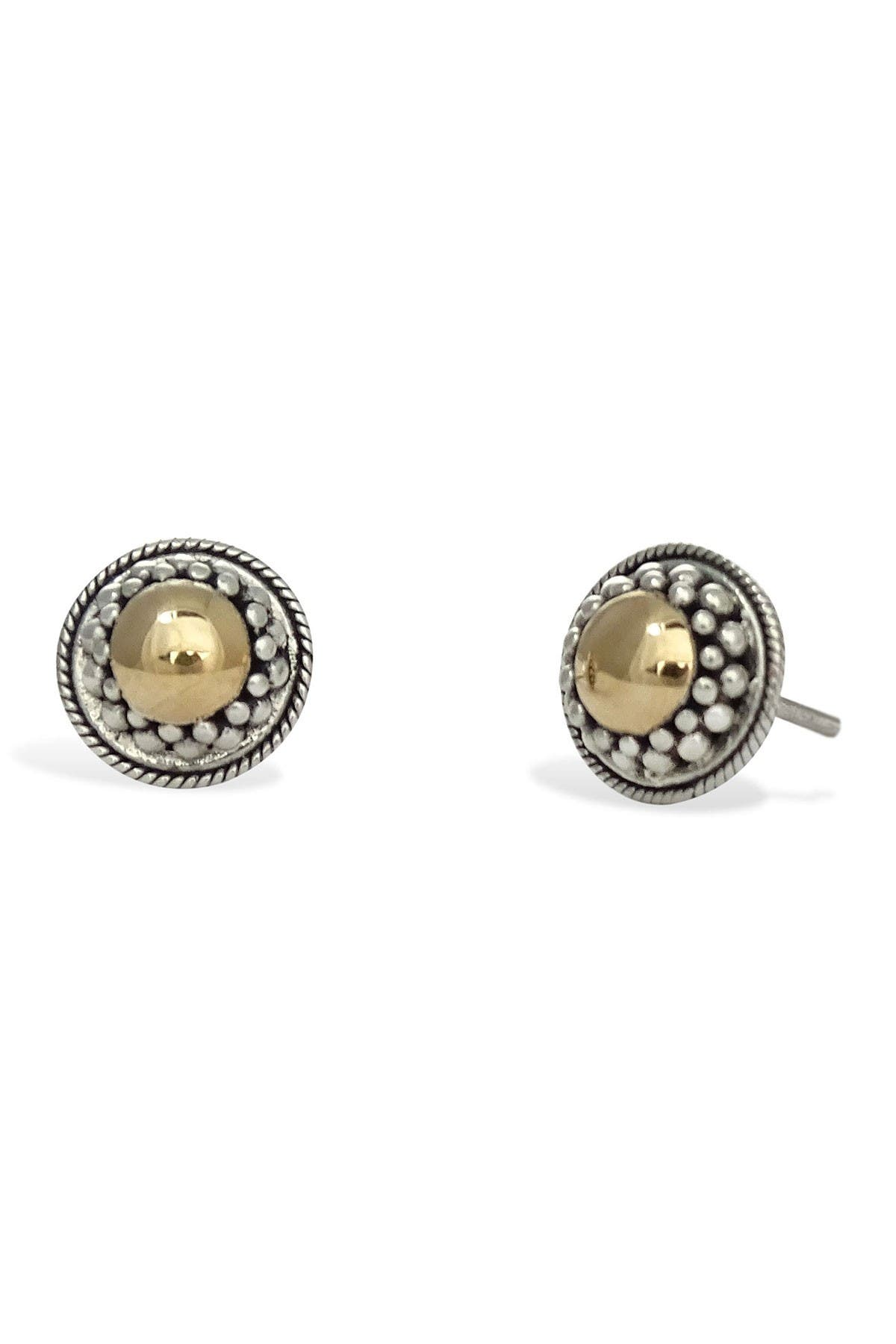 Image of Savvy Cie 18K Yellow Gold & Sterling Silver Halo Stud Earrings