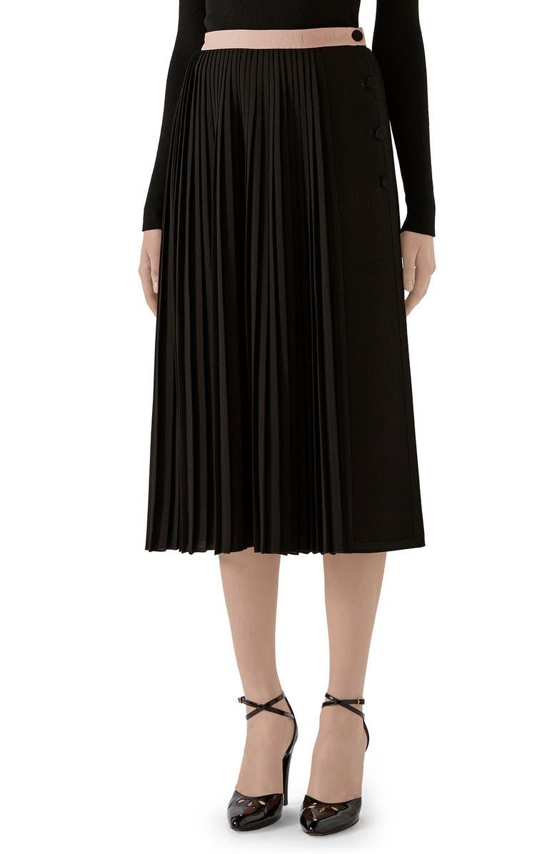 GUCCI Logo Waist Pleated Wool Crepe Midi Skirt, Main, color, BLACK/ MIX
