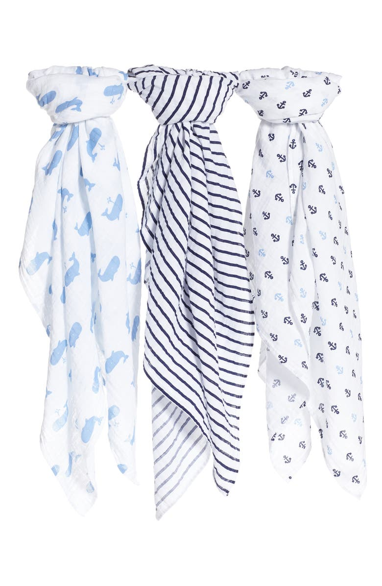 NORDSTROM BABY 3-Pack Muslin Swaddles, Main, color, WHALE PACK