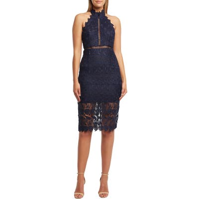 Bardot Noni Lace Halter Dress, Blue