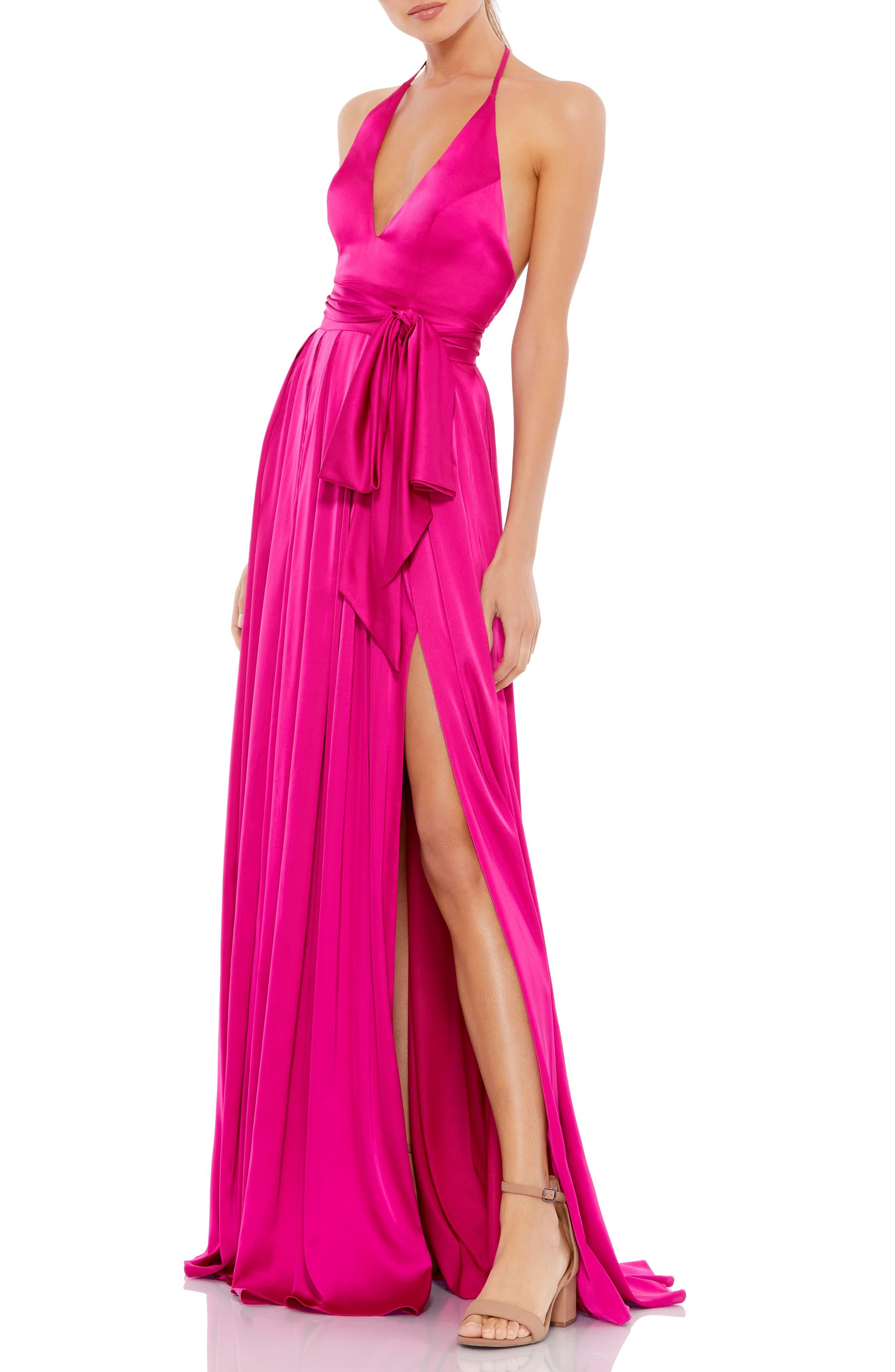 Halter Satin Sheath Gown