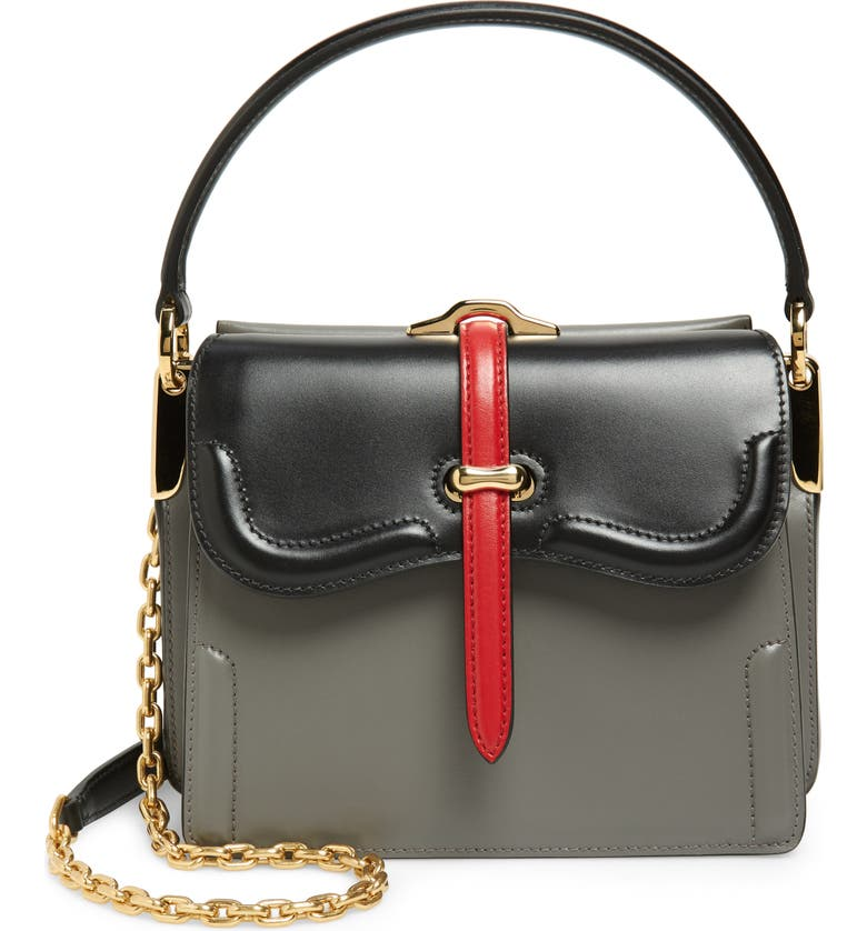PRADA Leather Satchel, Main, color, MARMO/ NERO/ FUOCO