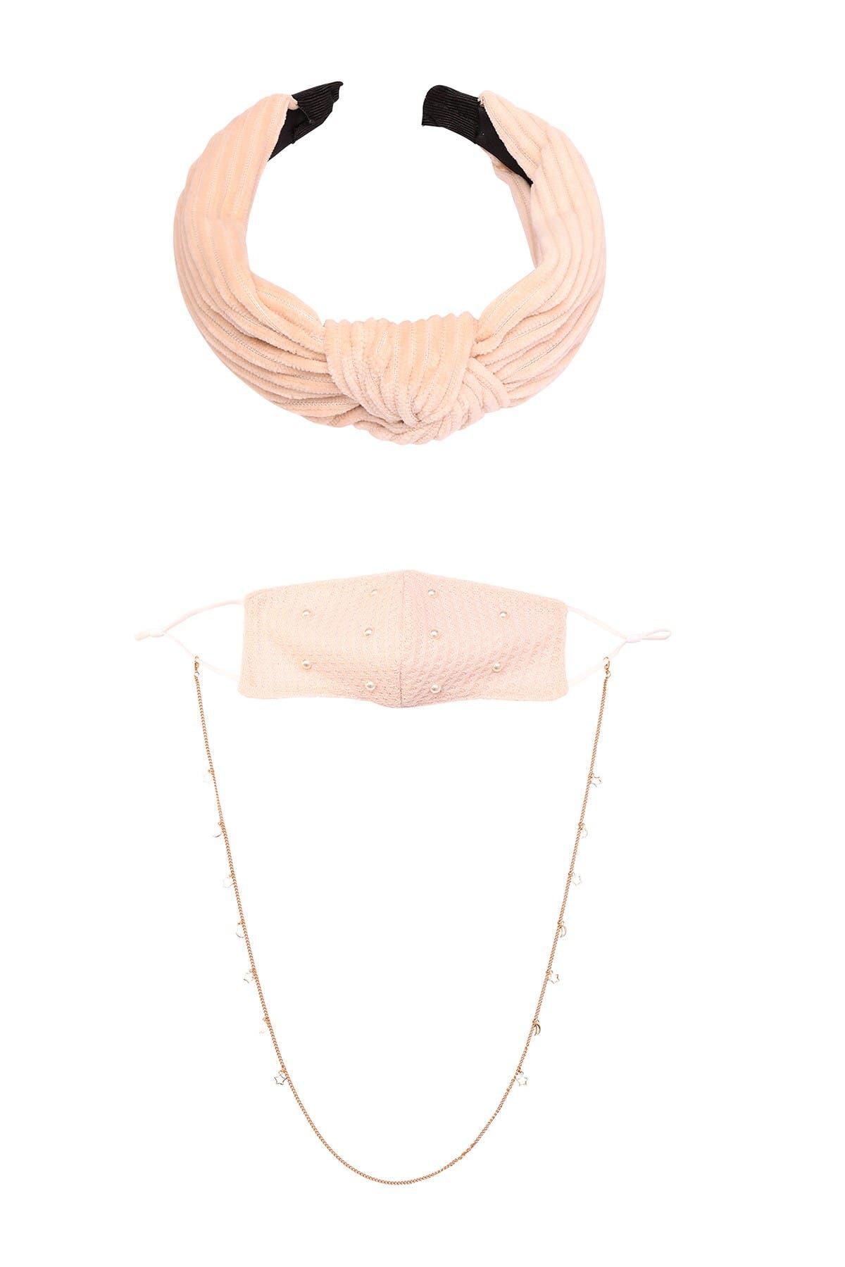 Image of Berry So Soft Face Mask, Chain & Headband Set - 3 Piece Set