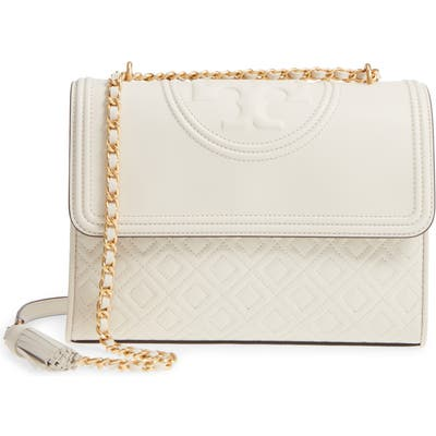 Tory Burch Fleming Quilted Lambskin Leather Convertible Shoulder Bag -