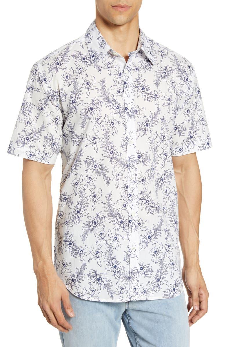 COASTAORO Lanai Regular Fit Tropical Short Sleeve Button-Up Shirt, Main, color, WHITE