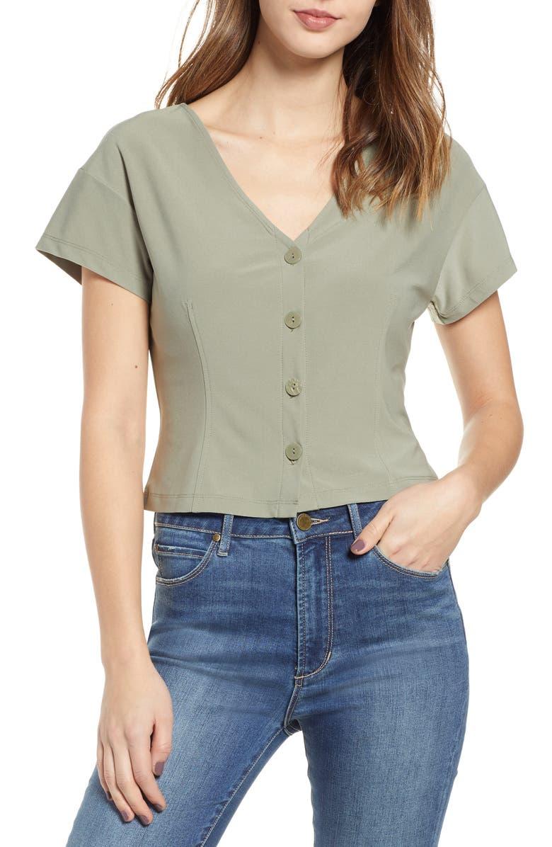 LEITH Button Front V-Neck Top, Main, color, 310