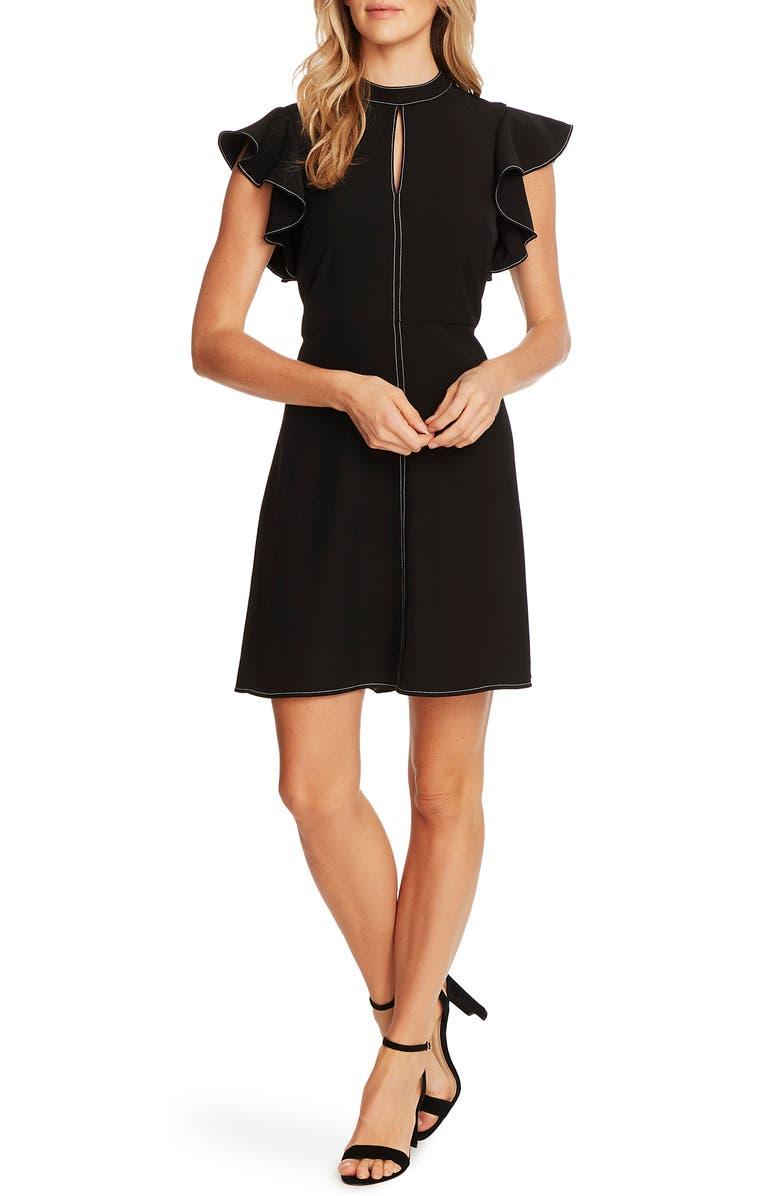 CECE Flutter Sleeve Mock Neck Twill Dress, Main, color, 001