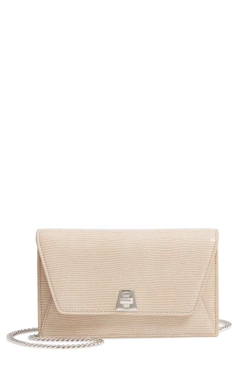 AKRIS Anouk Lizard Embossed Wallet on a Chain, Main, color, CASHMERE