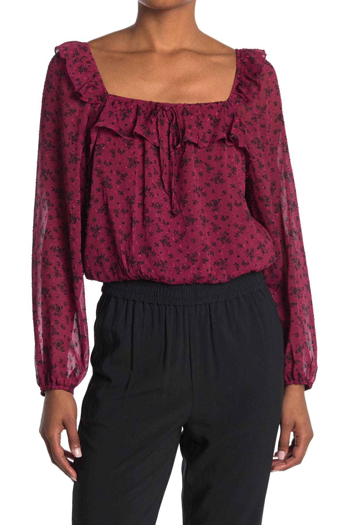 Image of ROW A Printed Ruffle Woven Top