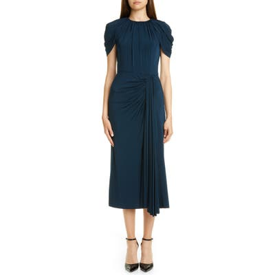 Jason Wu Collection Cap Sleeve Draped Jersey Midi Dress, Blue