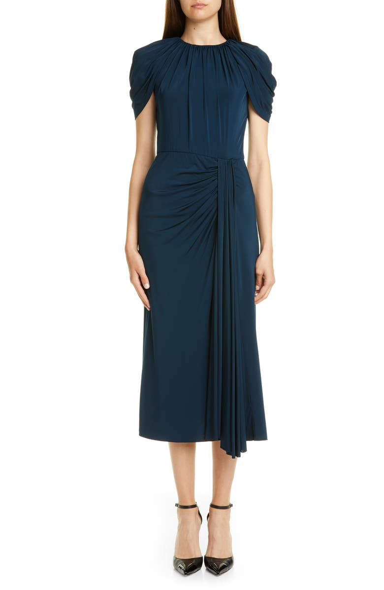 JASON WU COLLECTION Cap Sleeve Draped Jersey Midi Dress, Main, color, PEACOCK
