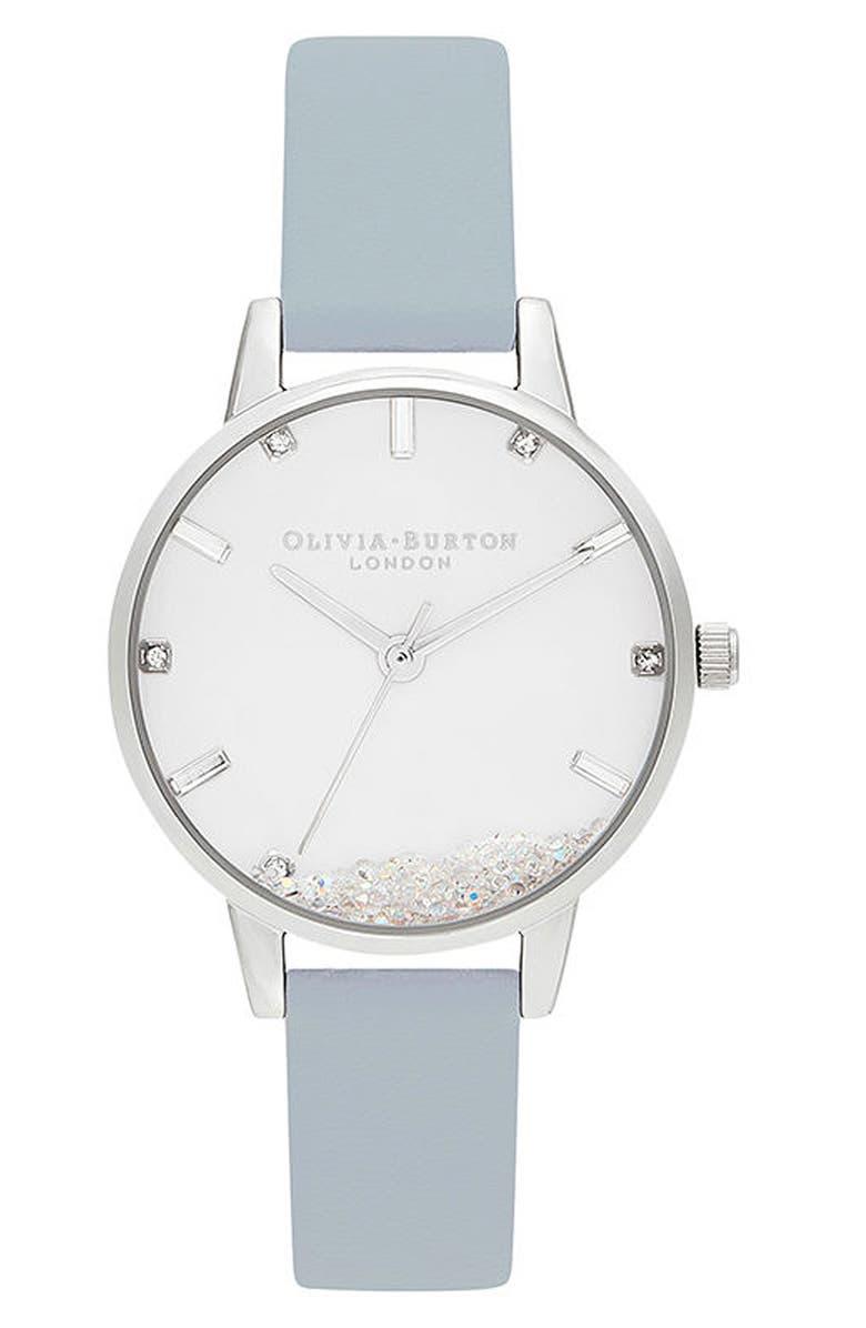 OLIVIA BURTON Oliva Burton Wishing Faux Leather Strap Watch, 30mm, Main, color, CHALK BLUE/ WHITE/ SILVER