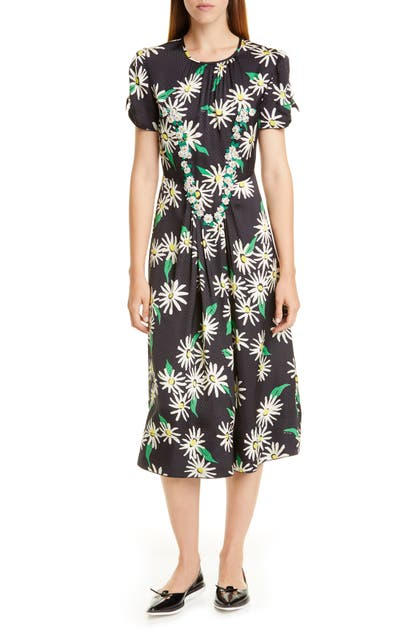 Marc By Marc Jacobs The Marc Jacobs Sofia Loves The 40s Floral & Dot Jacquard Midi Dress In Black Multi