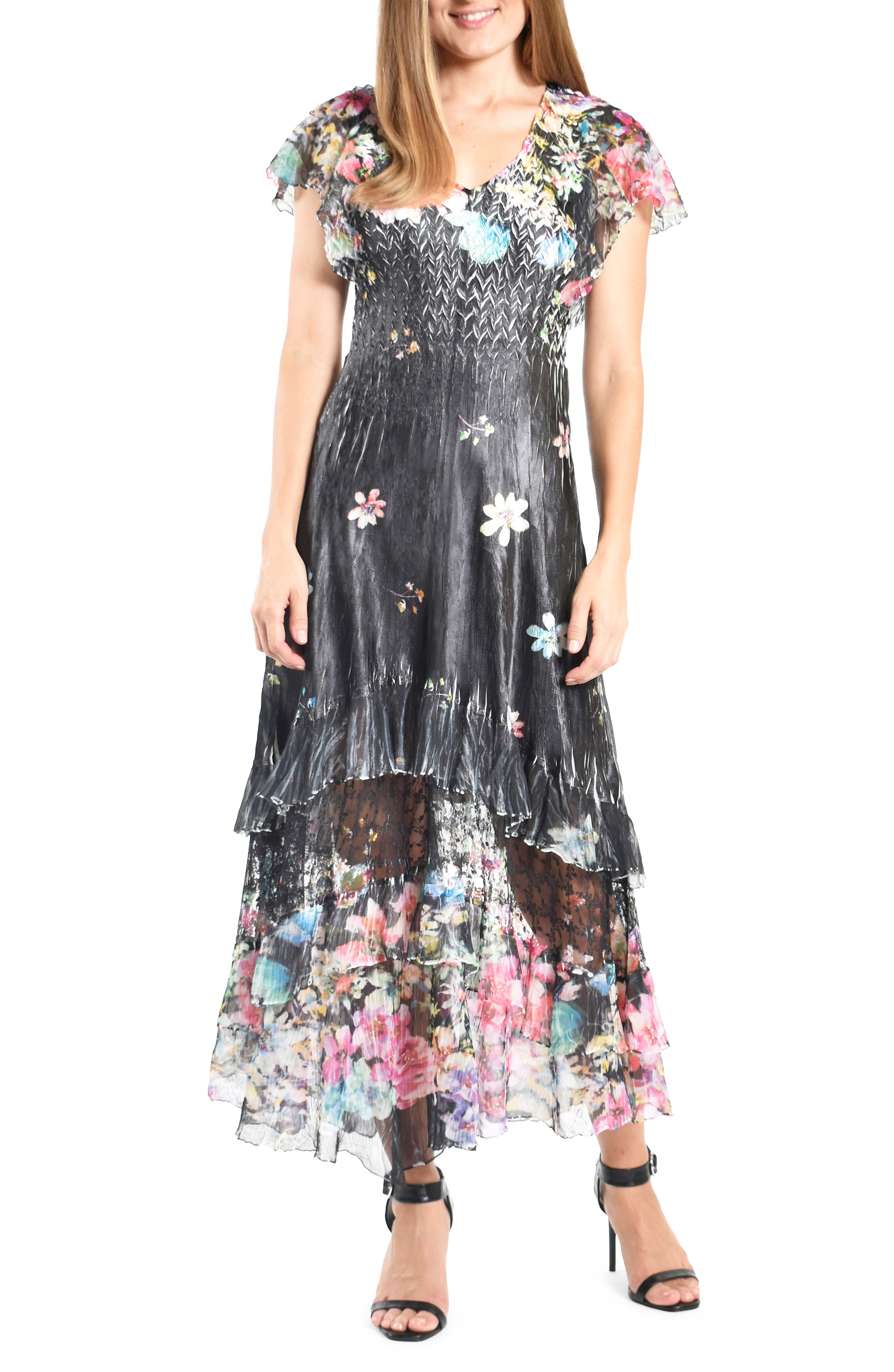 Floral Tiered Charmeuse Dress