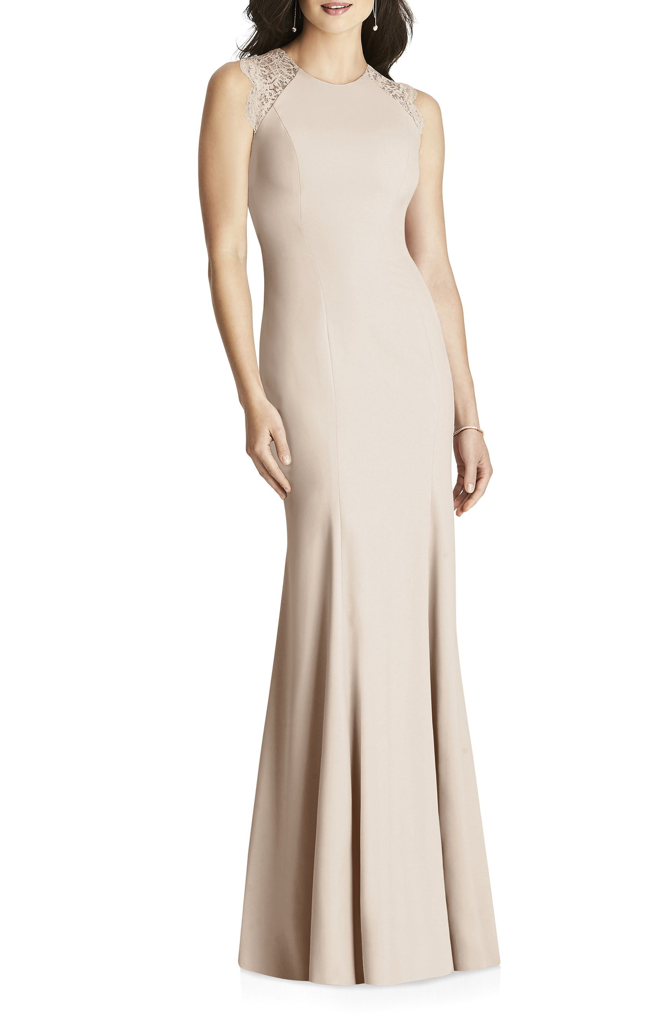 Dessy Collection Lace Back Crepe Gown, Beige
