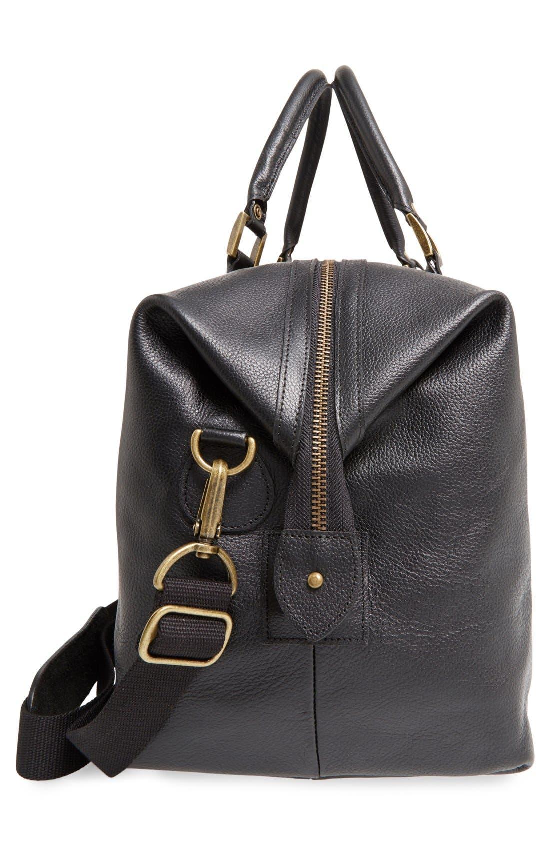 ,                             Leather Duffle Bag,                             Alternate thumbnail 5, color,                             BLACK