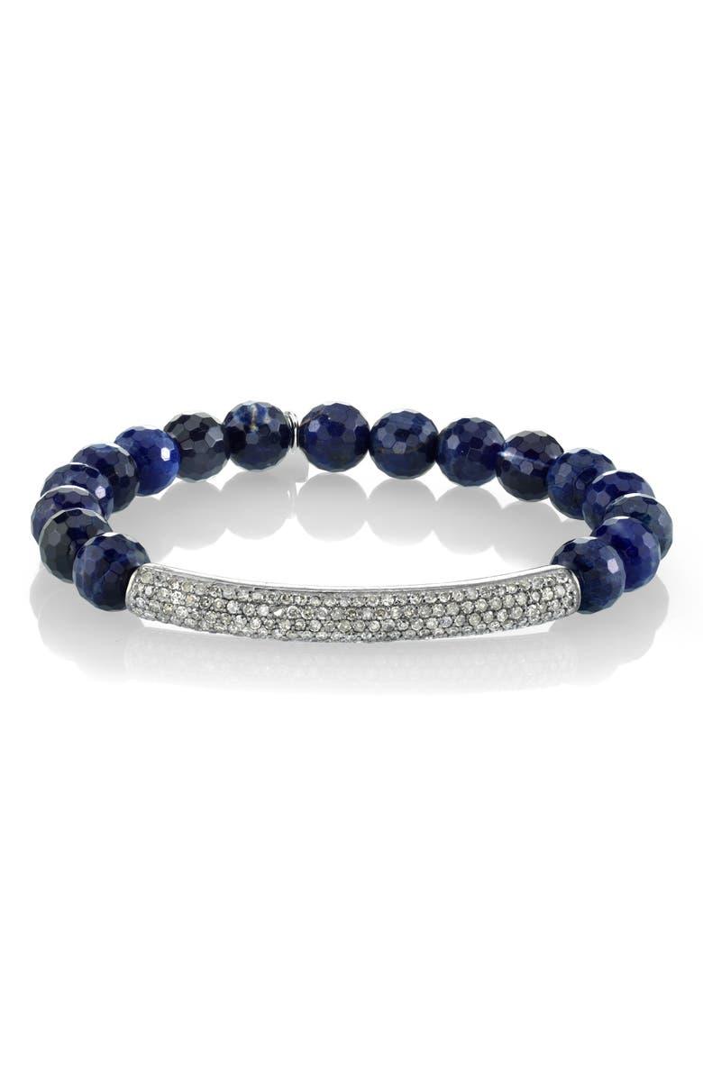 SHERYL LOWE Pavé Diamond & Sodalite Bracelet, Main, color, SODALITE