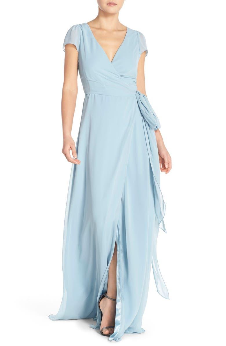 JOANNA AUGUST Aurele Cap Sleeve Chiffon Wrap Gown, Main, color, 401