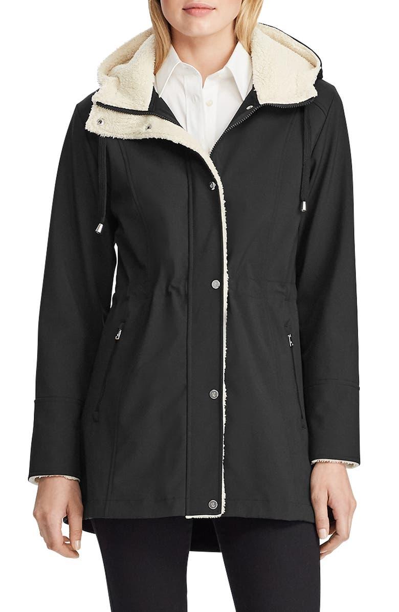 LAUREN RALPH LAUREN Hooded Soft Shell Jacket, Main, color, BLACK