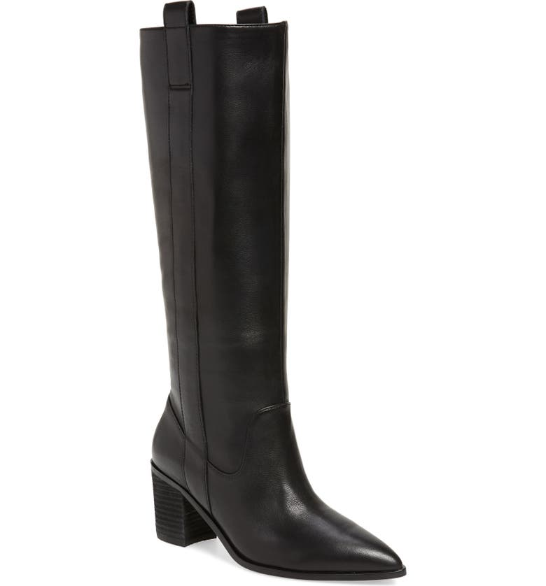 CHARLES DAVID Exhibit Knee High Boot, Main, color, BLACK LEATHER