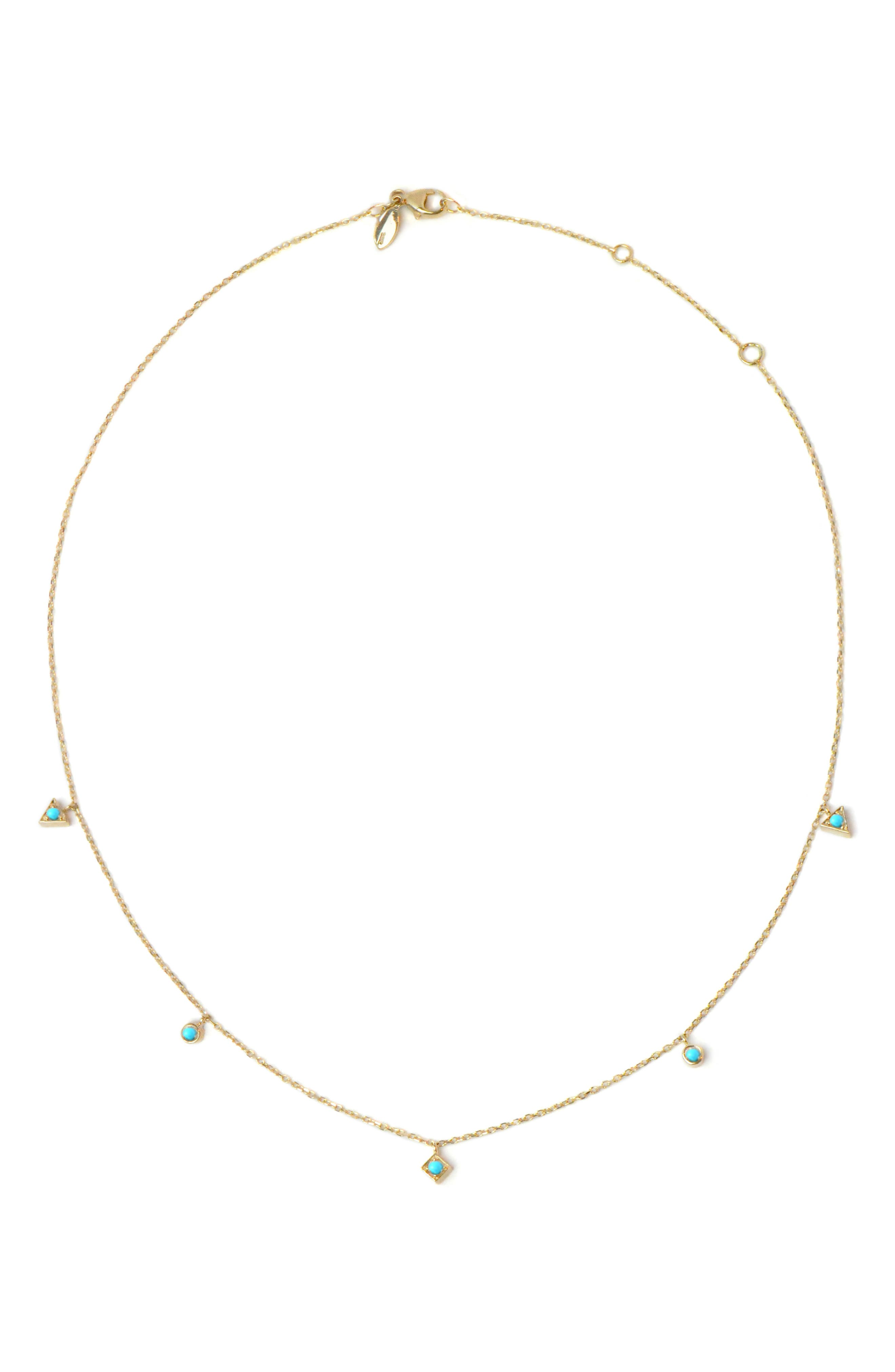 Cleo Dangling Shapes Turquoise Necklace