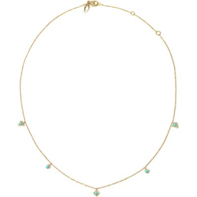 Anzie Cleo Dangling Shapes Turquoise Necklace