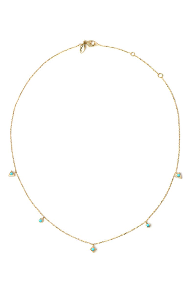ANZIE Cleo Dangling Shapes Turquoise Necklace, Main, color, GOLD/ TURQUOISE