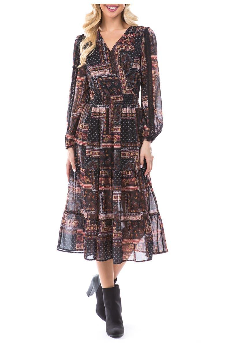 Threads and States Surplice Body Paisley Crochet Dress