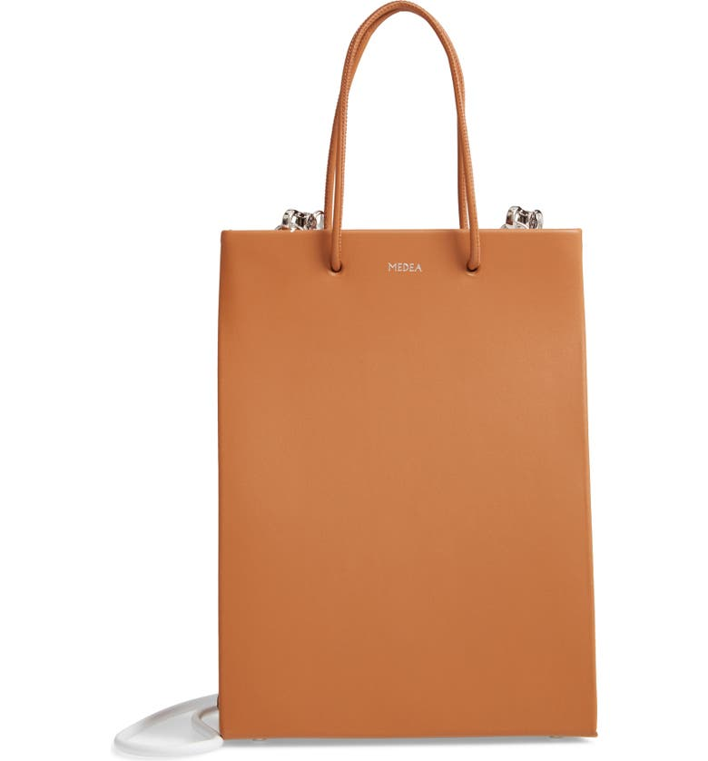 MEDEA Prima Tall Bicolor Calfskin Leather Bag, Main, color, BROWN AND WHITE